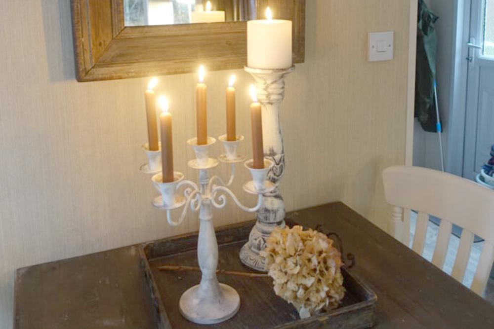 Vechtdalchalet Reggezicht kaarsen aan